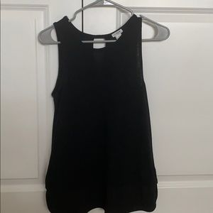 JCrew XS Black Top with Layered Look